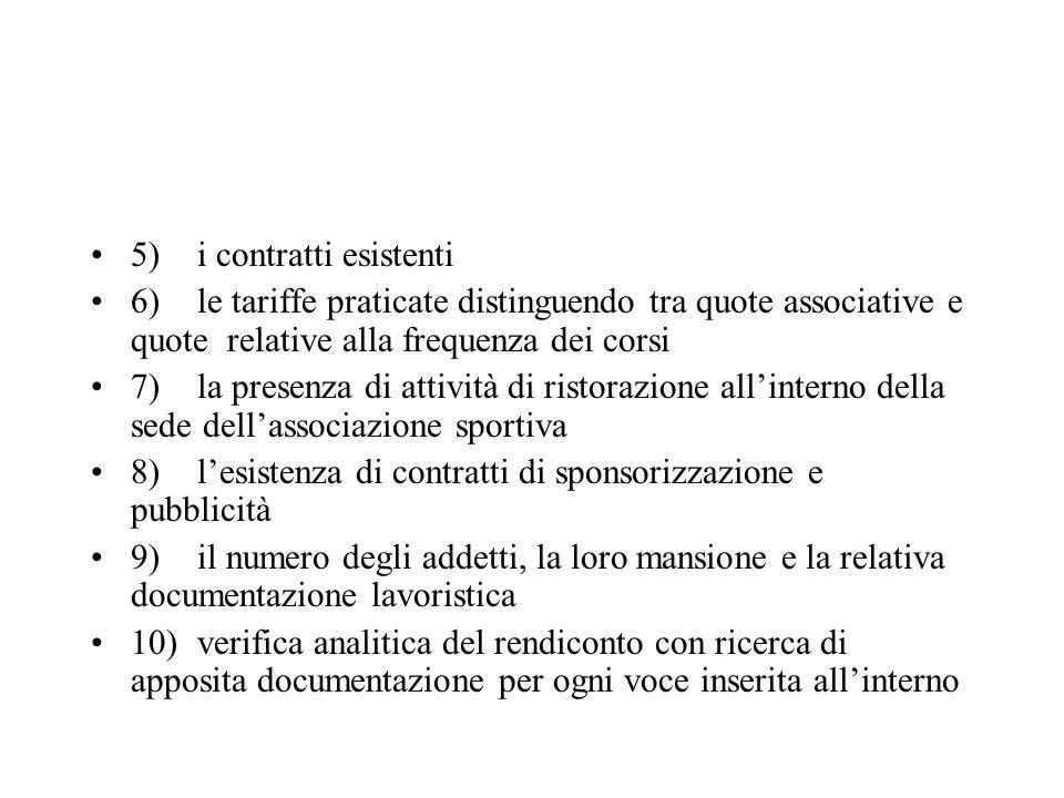 5)i contratti esistenti 6)le tariffe praticate distinguendo tra quote associative e quote relative alla frequenza dei corsi 7)la presenza di attività