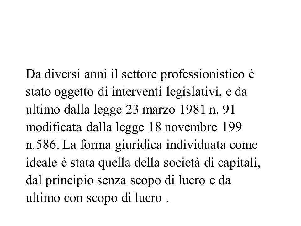 Da diversi anni il settore professionistico è stato oggetto di interventi legislativi, e da ultimo dalla legge 23 marzo 1981 n. 91 modificata dalla le
