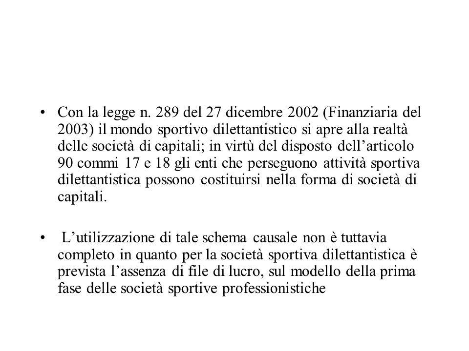 Con la legge n. 289 del 27 dicembre 2002 (Finanziaria del 2003) il mondo sportivo dilettantistico si apre alla realtà delle società di capitali; in vi