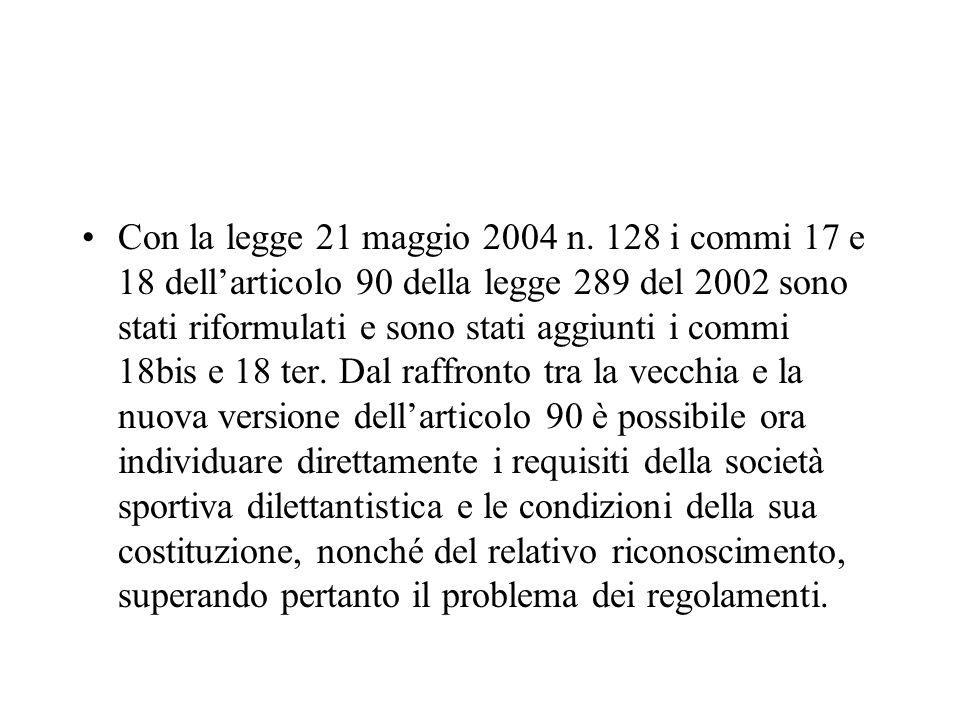 Con la legge 21 maggio 2004 n. 128 i commi 17 e 18 dellarticolo 90 della legge 289 del 2002 sono stati riformulati e sono stati aggiunti i commi 18bis