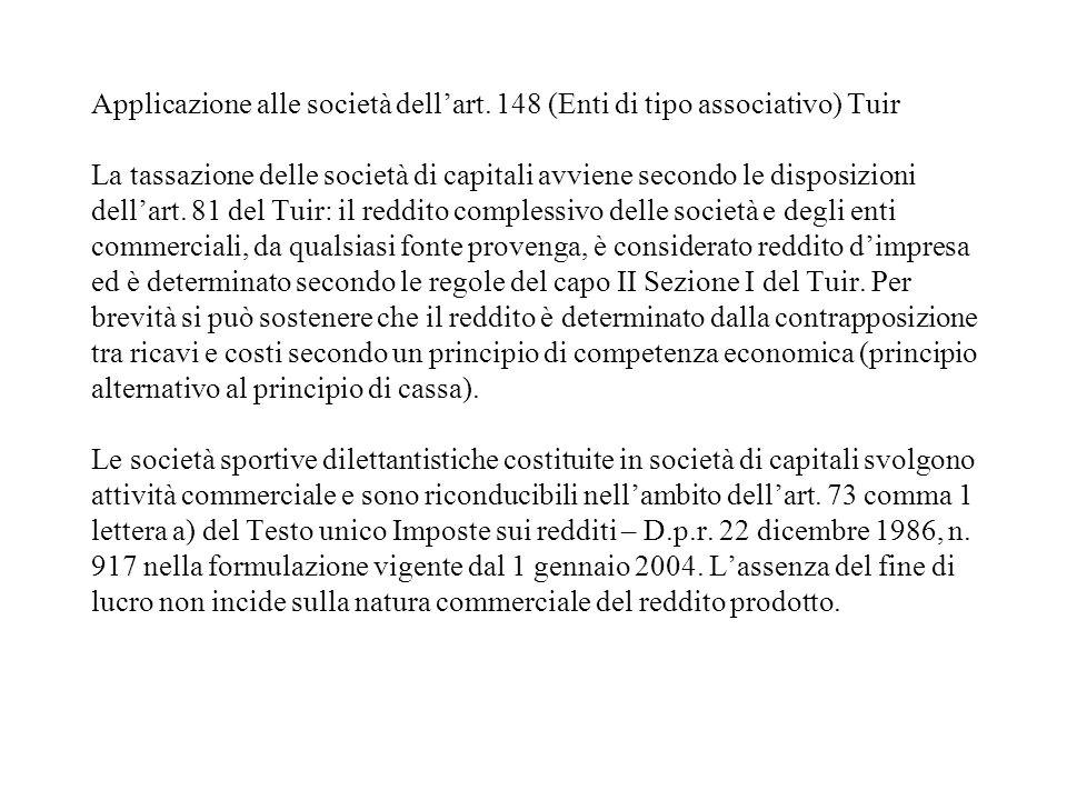 Applicazione alle società dellart. 148 (Enti di tipo associativo) Tuir La tassazione delle società di capitali avviene secondo le disposizioni dellart