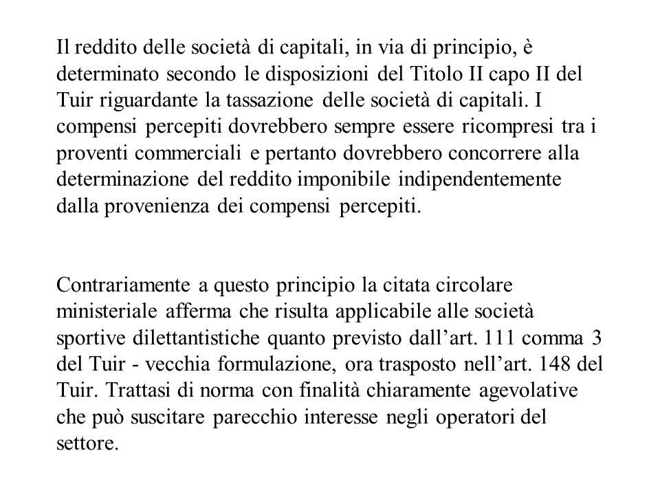 Il reddito delle società di capitali, in via di principio, è determinato secondo le disposizioni del Titolo II capo II del Tuir riguardante la tassazi