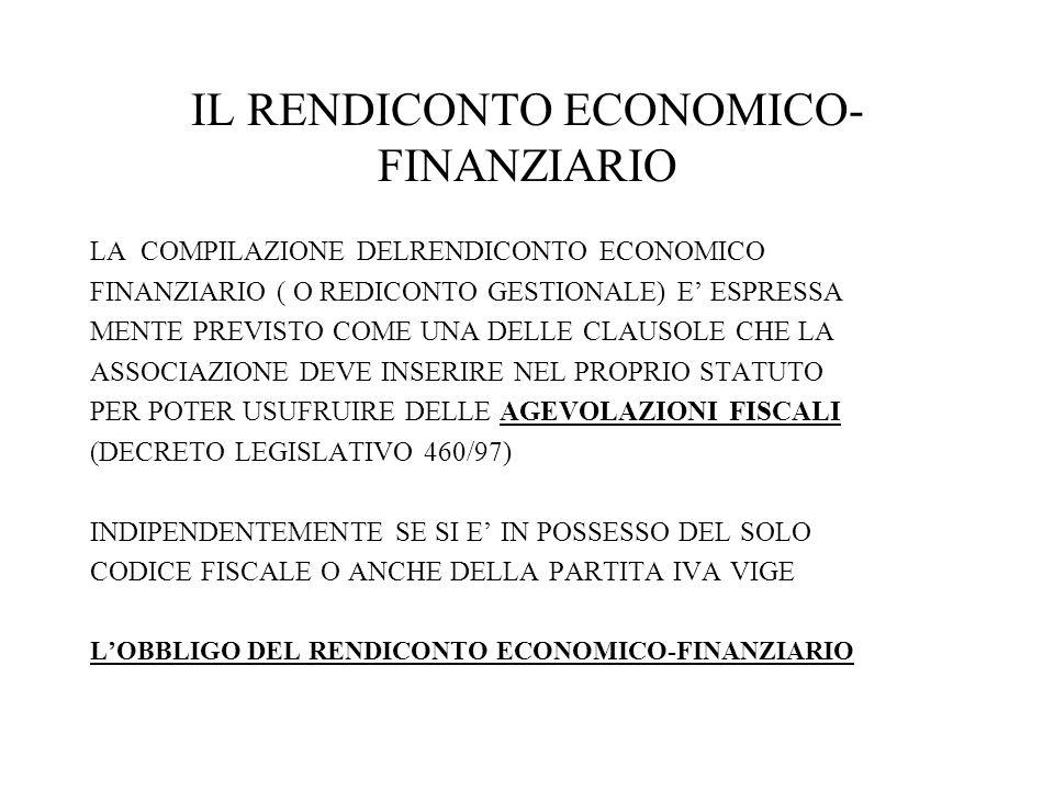 IL RENDICONTO ECONOMICO- FINANZIARIO LA COMPILAZIONE DELRENDICONTO ECONOMICO FINANZIARIO ( O REDICONTO GESTIONALE) E ESPRESSA MENTE PREVISTO COME UNA