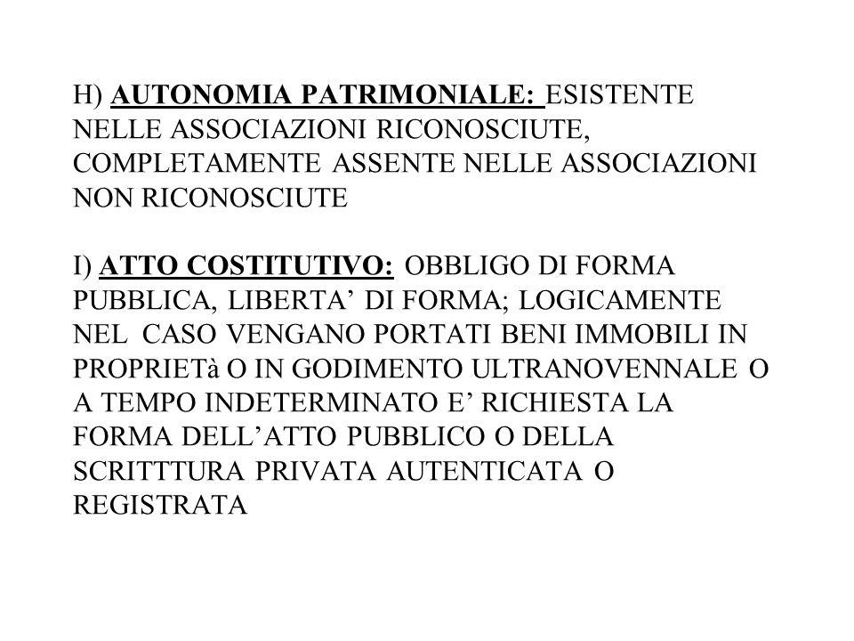 H) AUTONOMIA PATRIMONIALE: ESISTENTE NELLE ASSOCIAZIONI RICONOSCIUTE, COMPLETAMENTE ASSENTE NELLE ASSOCIAZIONI NON RICONOSCIUTE I) ATTO COSTITUTIVO: O