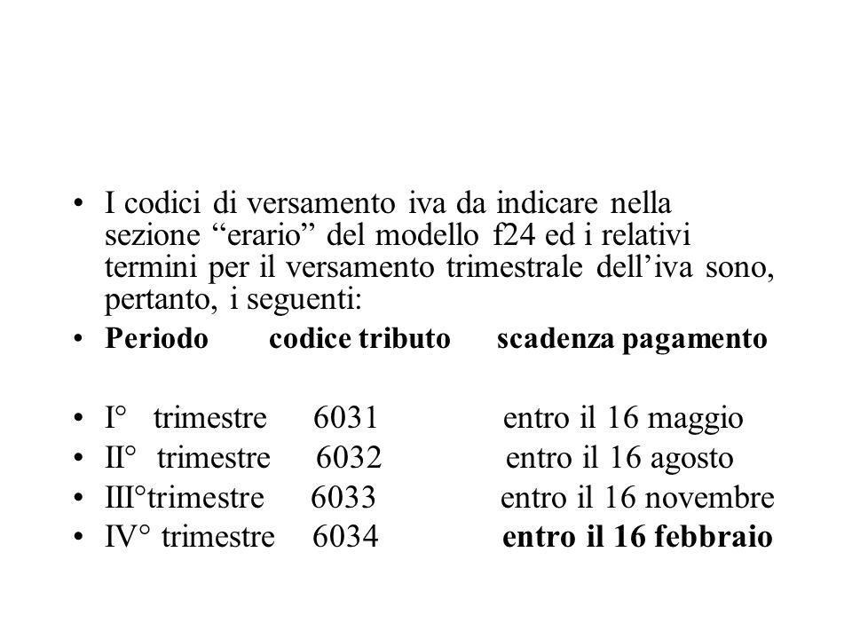 I codici di versamento iva da indicare nella sezione erario del modello f24 ed i relativi termini per il versamento trimestrale delliva sono, pertanto