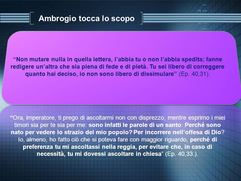 Ambrogio tocca lo scopo Non mutare nulla in quella lettera, labbia tu o non labbia spedita; fanne redigere unaltra che sia piena di fede e di pietà. T