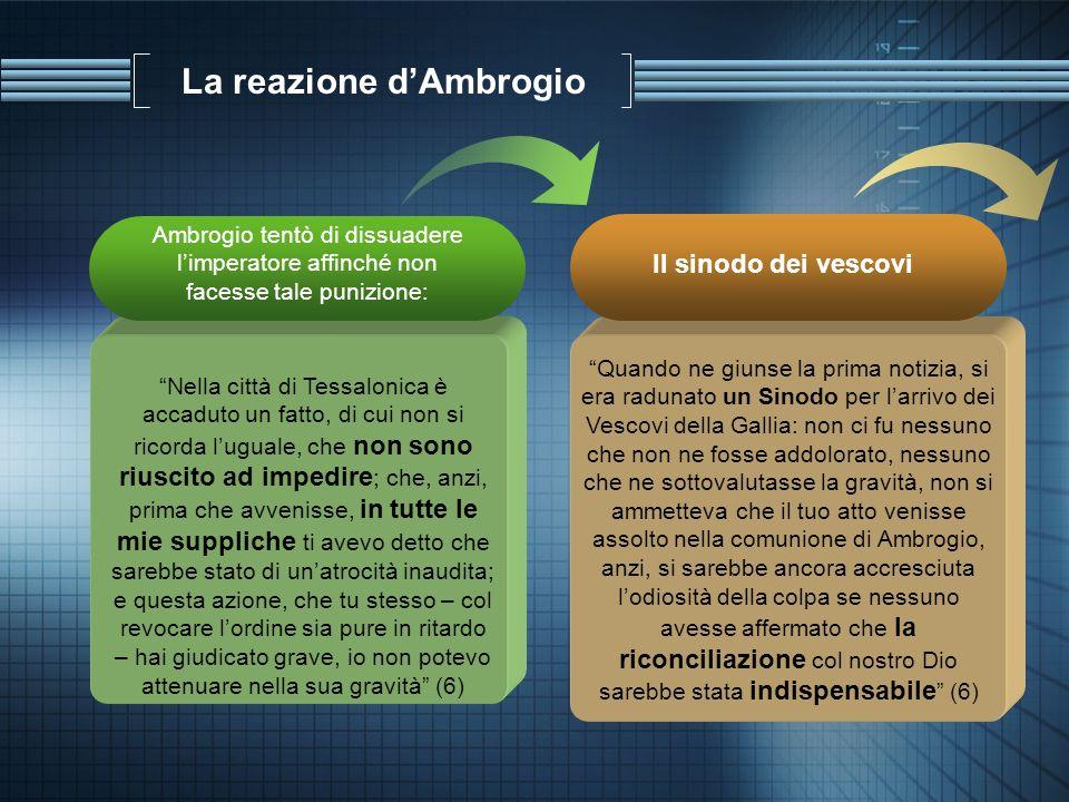 La reazione dAmbrogio Ambrogio tentò di dissuadere limperatore affinché non facesse tale punizione: Nella città di Tessalonica è accaduto un fatto, di