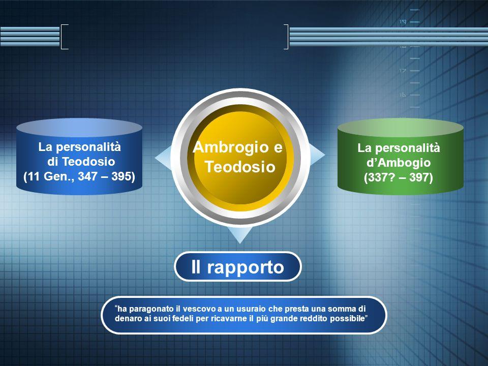 La personalità di Teodosio (11 Gen., 347 – 395) Ambrogio e Teodosio La personalità dAmbogio (337? – 397) Il rapporto ha paragonato il vescovo a un usu