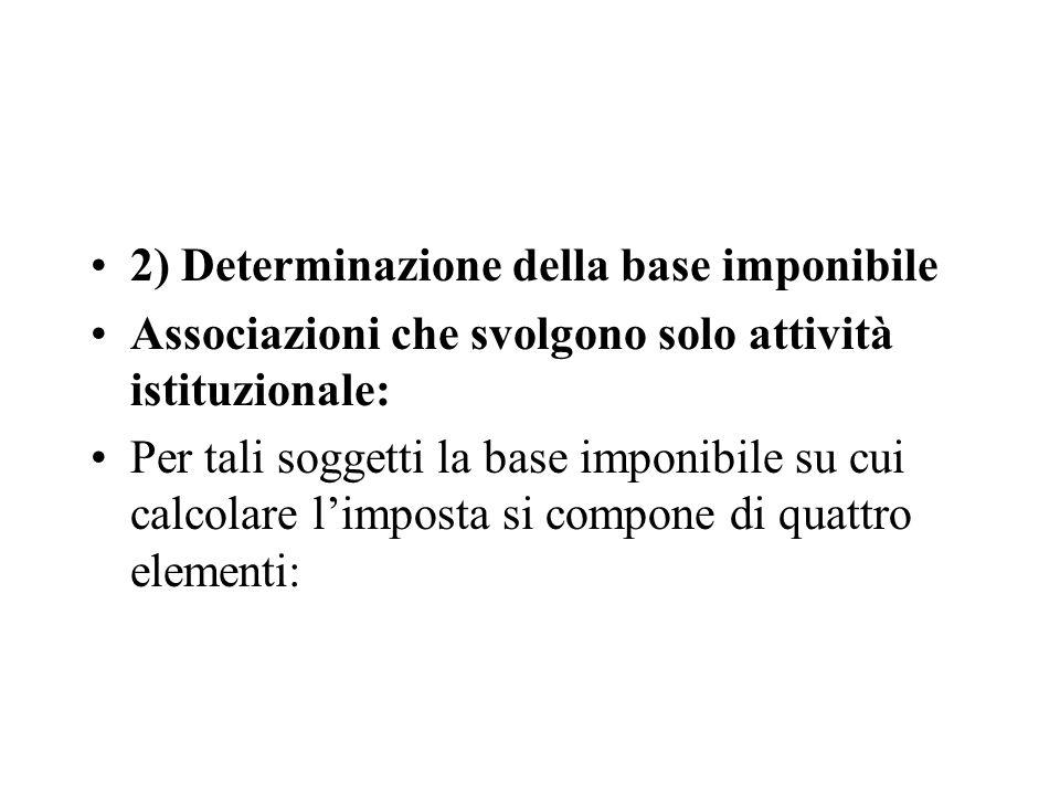 2) Determinazione della base imponibile Associazioni che svolgono solo attività istituzionale: Per tali soggetti la base imponibile su cui calcolare l