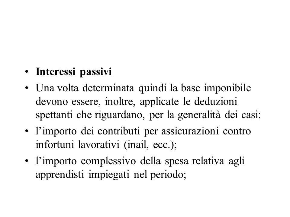 Interessi passivi Una volta determinata quindi la base imponibile devono essere, inoltre, applicate le deduzioni spettanti che riguardano, per la gene
