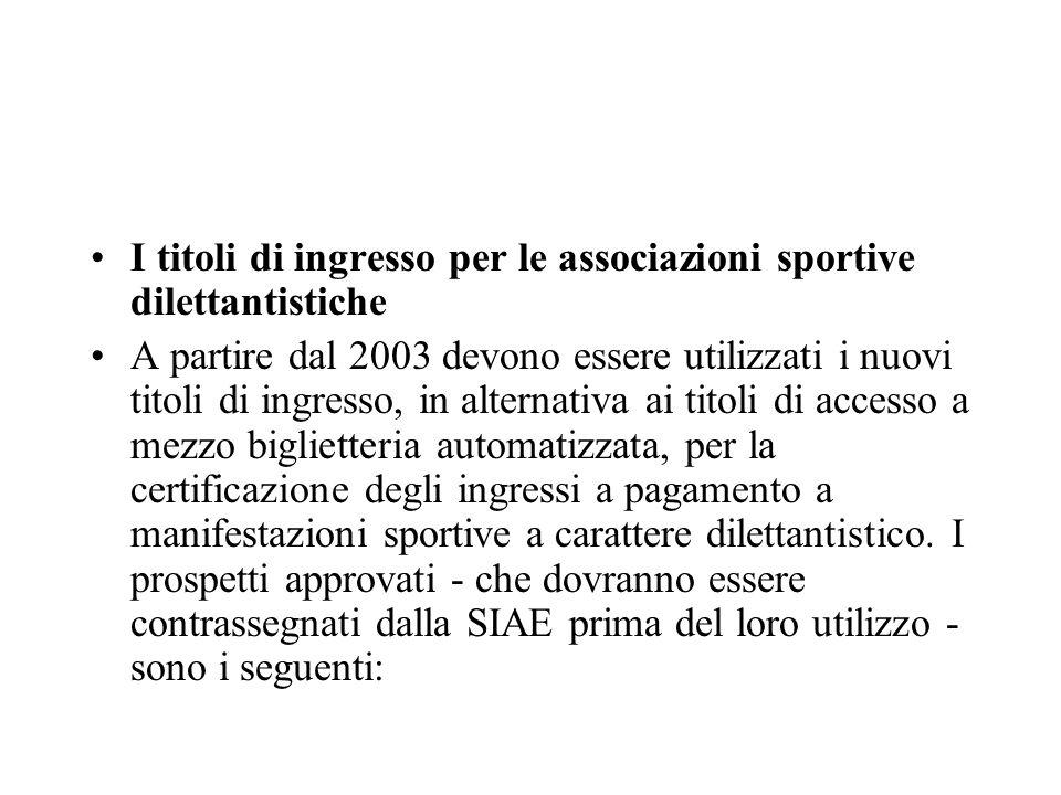 I titoli di ingresso per le associazioni sportive dilettantistiche A partire dal 2003 devono essere utilizzati i nuovi titoli di ingresso, in alternat