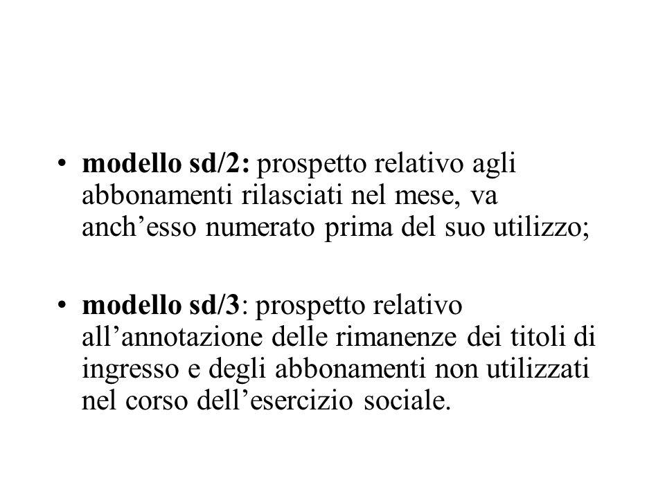 modello sd/2: prospetto relativo agli abbonamenti rilasciati nel mese, va anchesso numerato prima del suo utilizzo; modello sd/3: prospetto relativo a