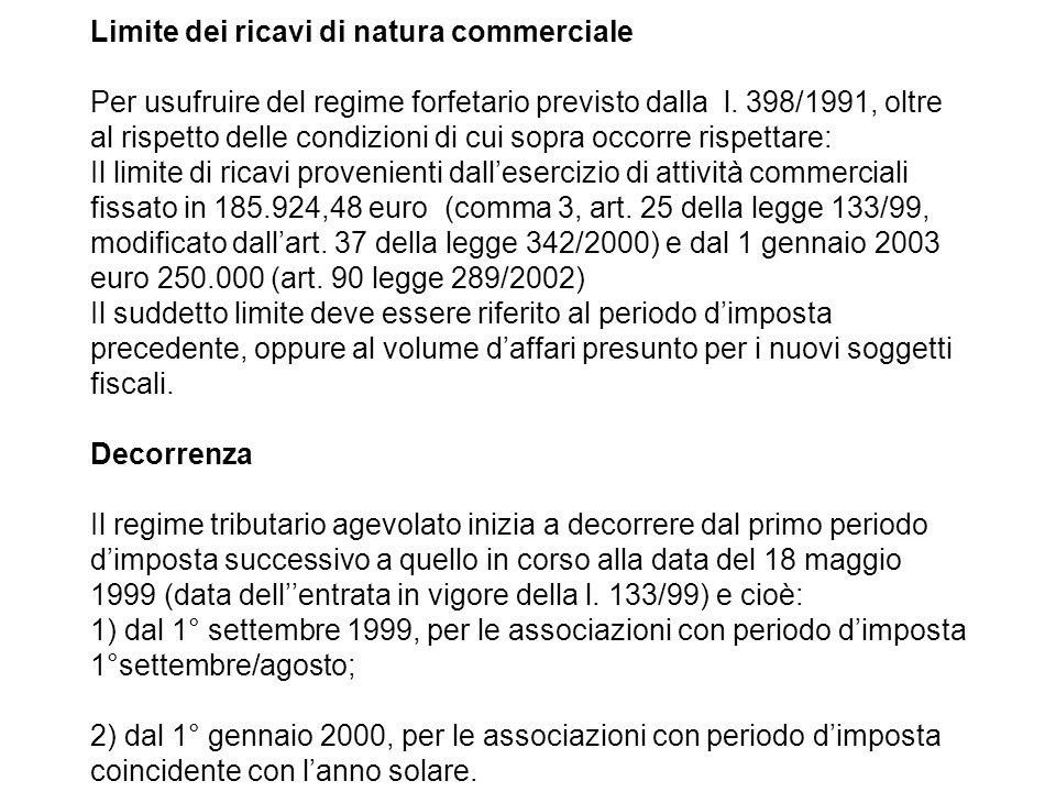 Limite dei ricavi di natura commerciale Per usufruire del regime forfetario previsto dalla l. 398/1991, oltre al rispetto delle condizioni di cui sopr