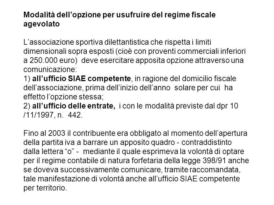 Modalità dellopzione per usufruire del regime fiscale agevolato Lassociazione sportiva dilettantistica che rispetta i limiti dimensionali sopra espost