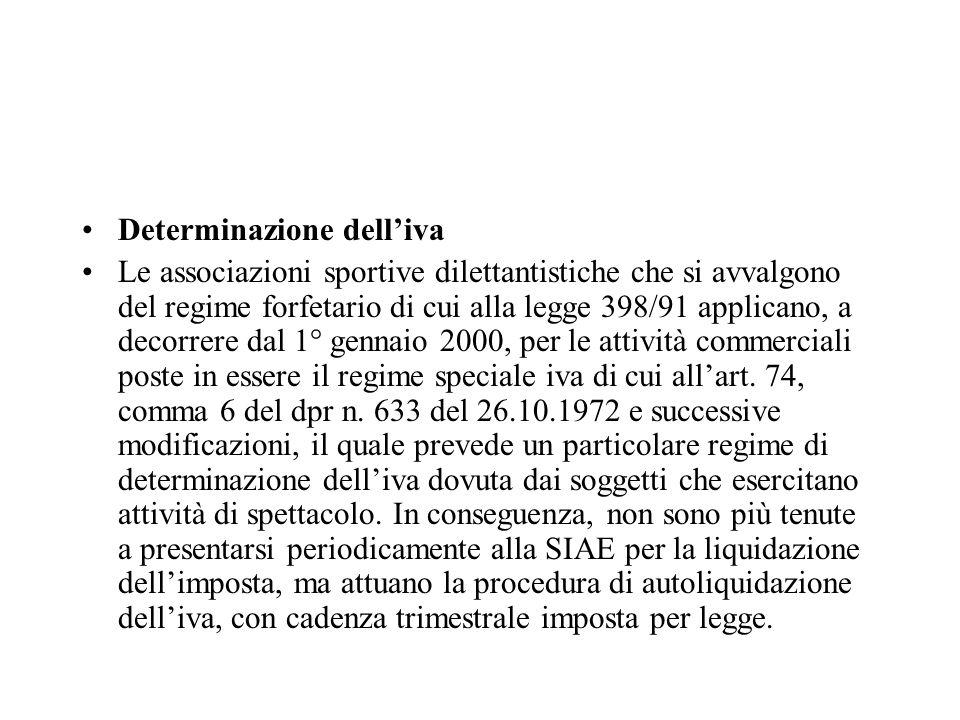 Determinazione delliva Le associazioni sportive dilettantistiche che si avvalgono del regime forfetario di cui alla legge 398/91 applicano, a decorrer