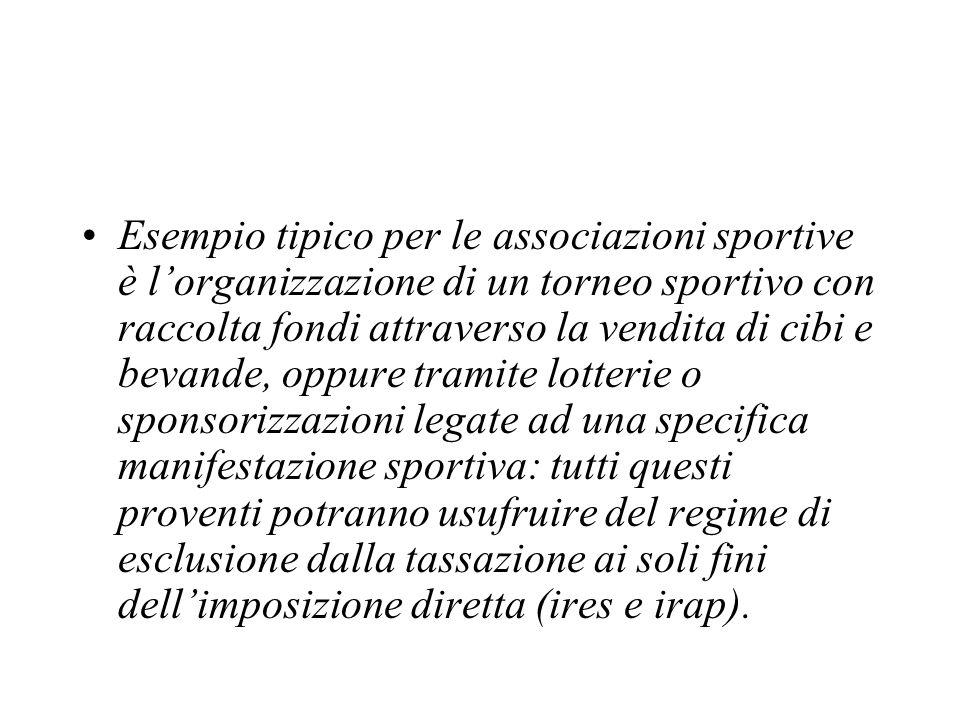 Esempio tipico per le associazioni sportive è lorganizzazione di un torneo sportivo con raccolta fondi attraverso la vendita di cibi e bevande, oppure