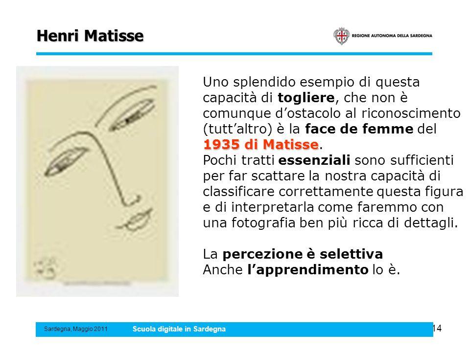 14 Henri Matisse Sardegna, Maggio 2011 Scuola digitale in Sardegna 1935 di Matisse Uno splendido esempio di questa capacità di togliere, che non è com