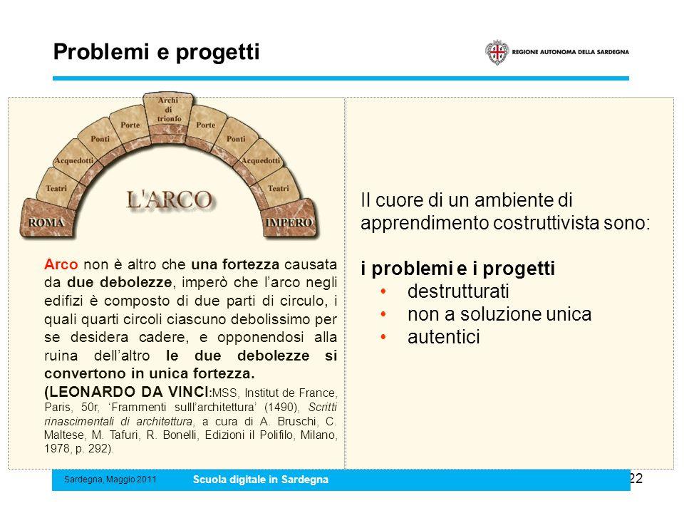 22 Problemi e progetti Sardegna, Maggio 2011 Scuola digitale in Sardegna Il cuore di un ambiente di apprendimento costruttivista sono: i problemi e i