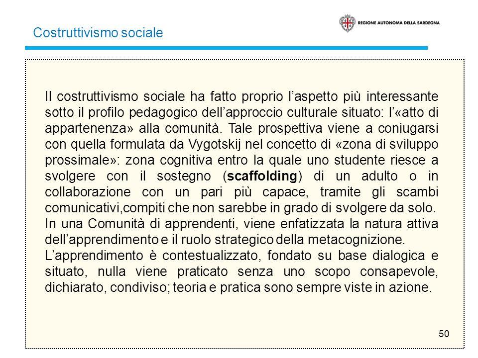 50 Il costruttivismo sociale ha fatto proprio laspetto più interessante sotto il profilo pedagogico dellapproccio culturale situato: l«atto di apparte
