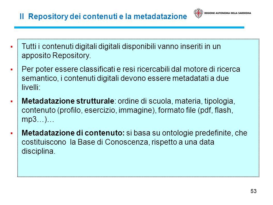 53 Il Repository dei contenuti e la metadatazione Tutti i contenuti digitali digitali disponibili vanno inseriti in un apposito Repository. Per poter