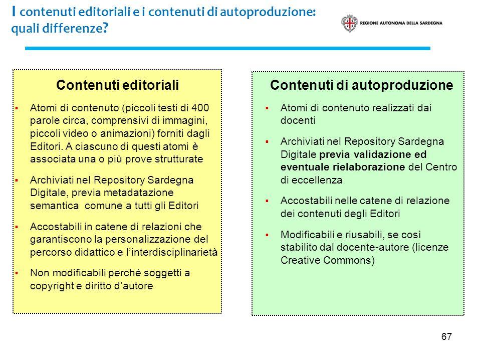67 I contenuti editoriali e i contenuti di autoproduzione: quali differenze ? Contenuti editoriali Atomi di contenuto (piccoli testi di 400 parole cir