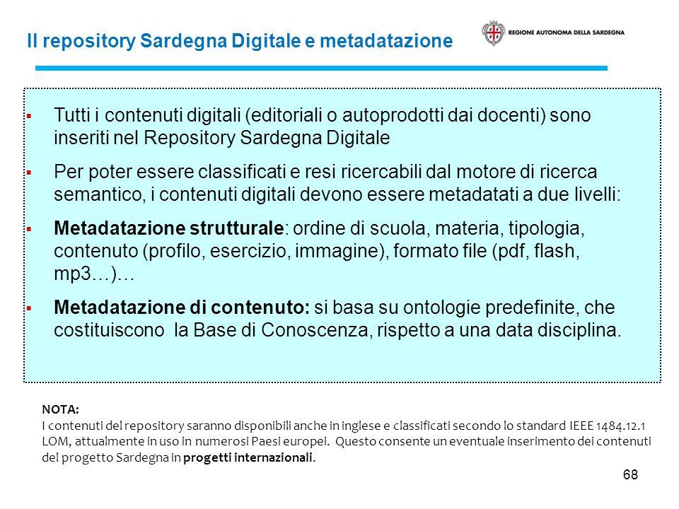 68 Il repository Sardegna Digitale e metadatazione Tutti i contenuti digitali (editoriali o autoprodotti dai docenti) sono inseriti nel Repository Sar
