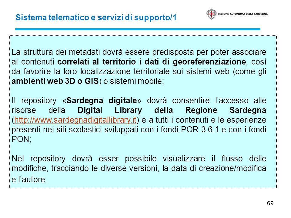 69 Sistema telematico e servizi di supporto/1 La struttura dei metadati dovrà essere predisposta per poter associare ai contenuti correlati al territo
