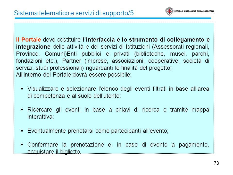 73 Sistema telematico e servizi di supporto/5 Il Portale deve costituire linterfaccia e lo strumento di collegamento e integrazione delle attività e d