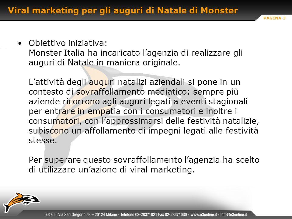 PAGINA 3 Viral marketing per gli auguri di Natale di Monster Obiettivo iniziativa: Monster Italia ha incaricato lagenzia di realizzare gli auguri di Natale in maniera originale.