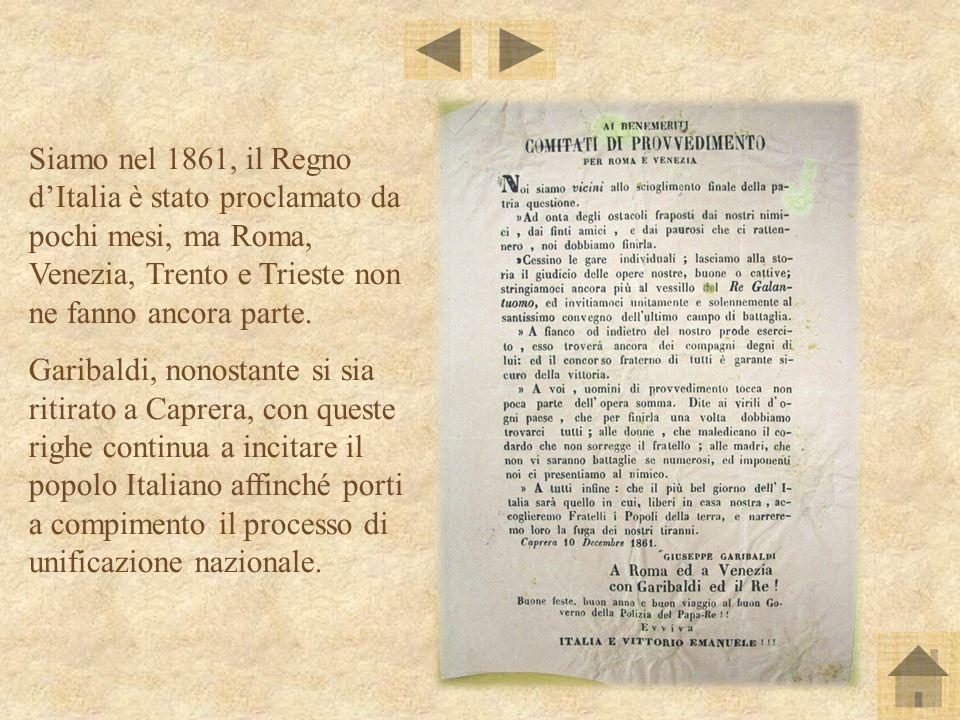 Siamo nel 1861, il Regno dItalia è stato proclamato da pochi mesi, ma Roma, Venezia, Trento e Trieste non ne fanno ancora parte. Garibaldi, nonostante
