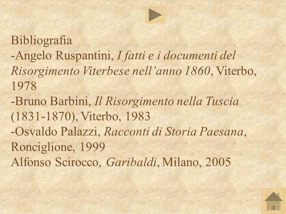 Bibliografia -Angelo Ruspantini, I fatti e i documenti del Risorgimento Viterbese nellanno 1860, Viterbo, 1978 -Bruno Barbini, Il Risorgimento nella T