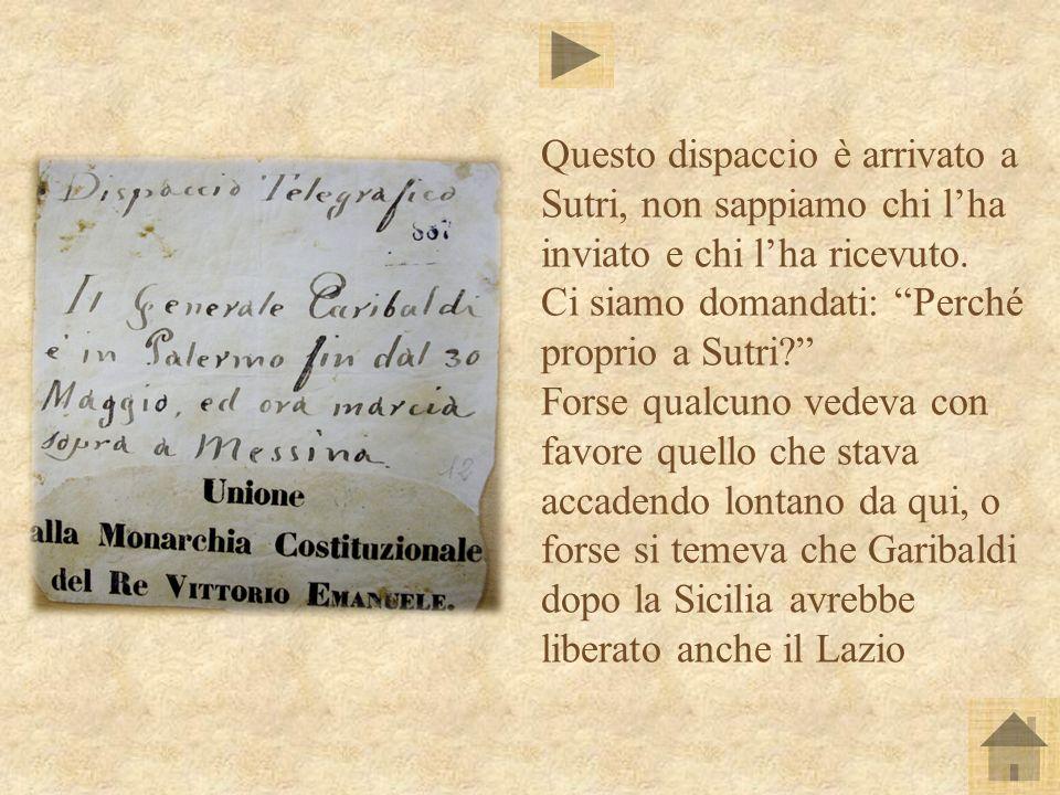 Ecco la trascrizione del dispaccio, così come è possibile reperirla tra i documenti dellArchivio di Stato di Viterbo nelle Carte di Polizia della locale Delegazione Apostolica.