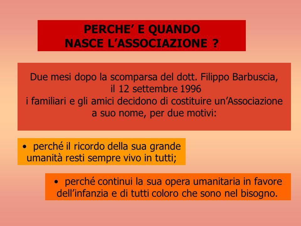 Due mesi dopo la scomparsa del dott. Filippo Barbuscia, il 12 settembre 1996 i familiari e gli amici decidono di costituire unAssociazione a suo nome,