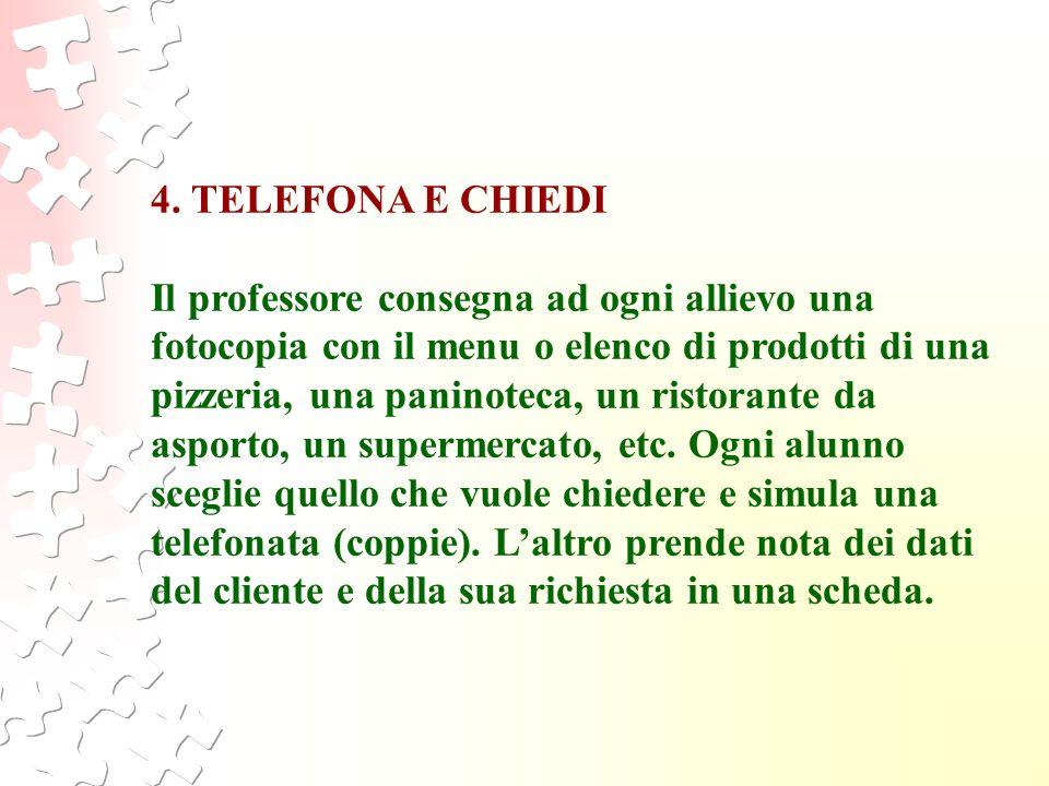4. TELEFONA E CHIEDI Il professore consegna ad ogni allievo una fotocopia con il menu o elenco di prodotti di una pizzeria, una paninoteca, un ristora