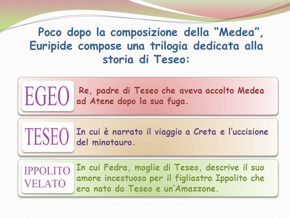 Poco dopo la composizione della Medea, Euripide compose una trilogia dedicata alla storia di Teseo: Re, padre di Teseo che aveva accolto Medea ad Aten