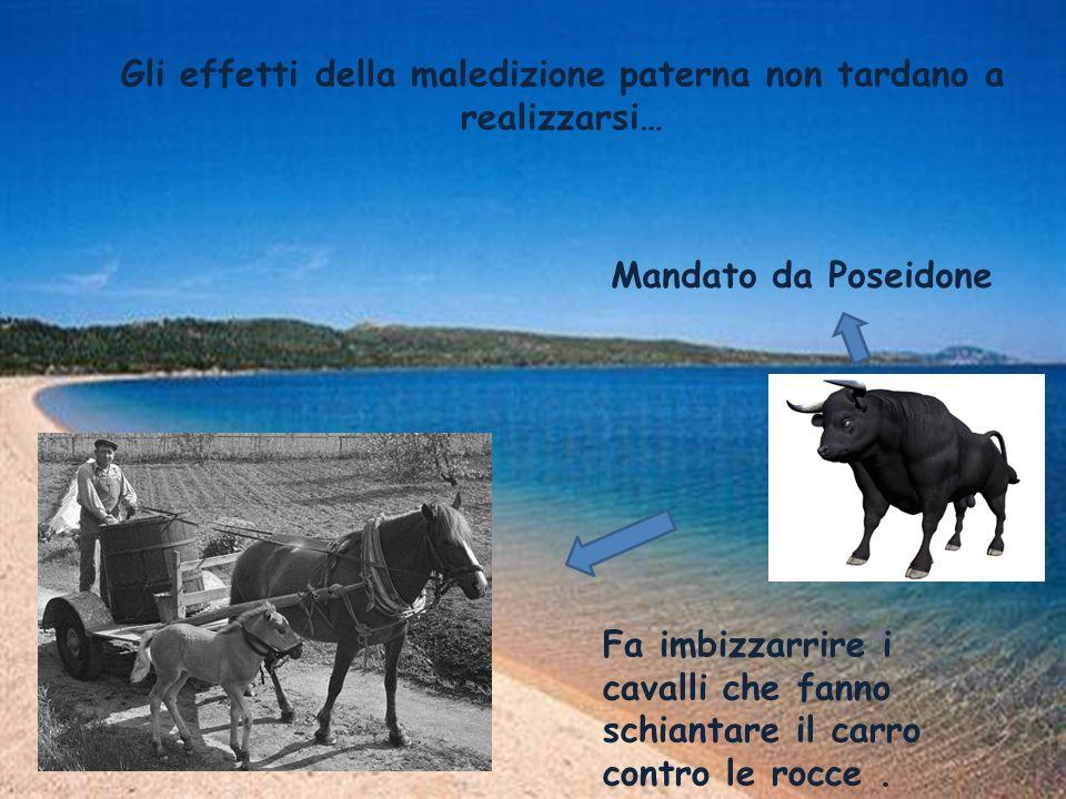 Gli effetti della maledizione paterna non tardano a realizzarsi… Mandato da Poseidone Fa imbizzarrire i cavalli che fanno schiantare il carro contro l