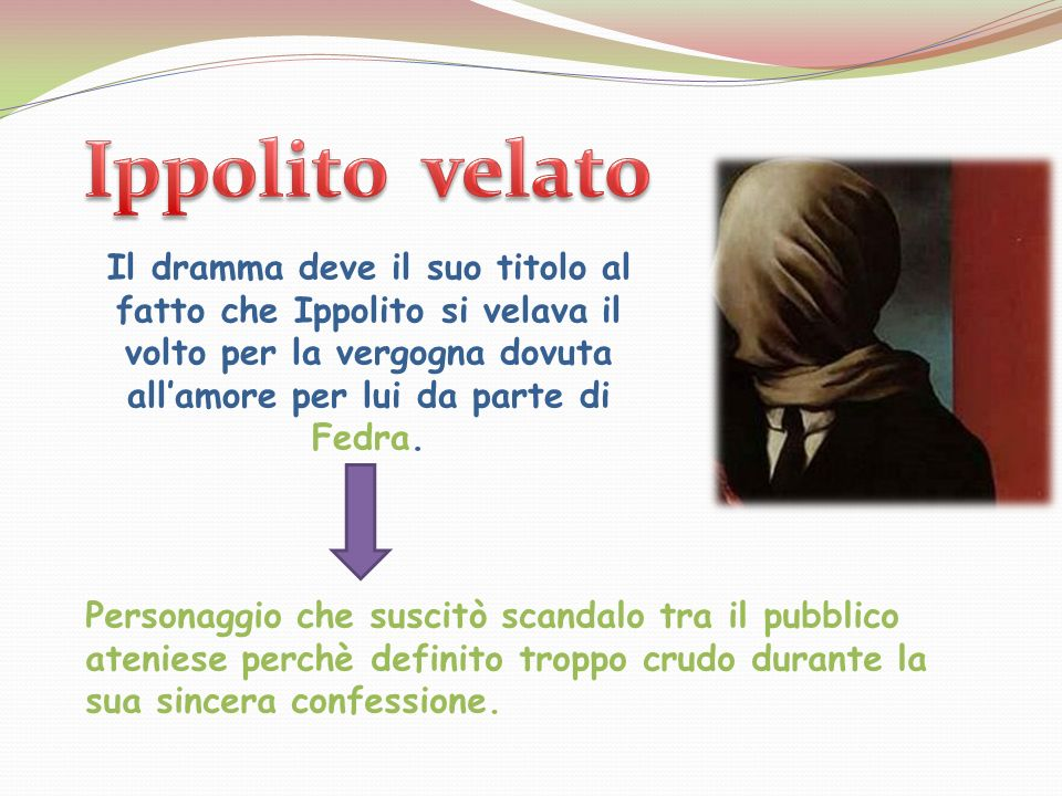 Il dramma deve il suo titolo al fatto che Ippolito si velava il volto per la vergogna dovuta allamore per lui da parte di Fedra. Personaggio che susci