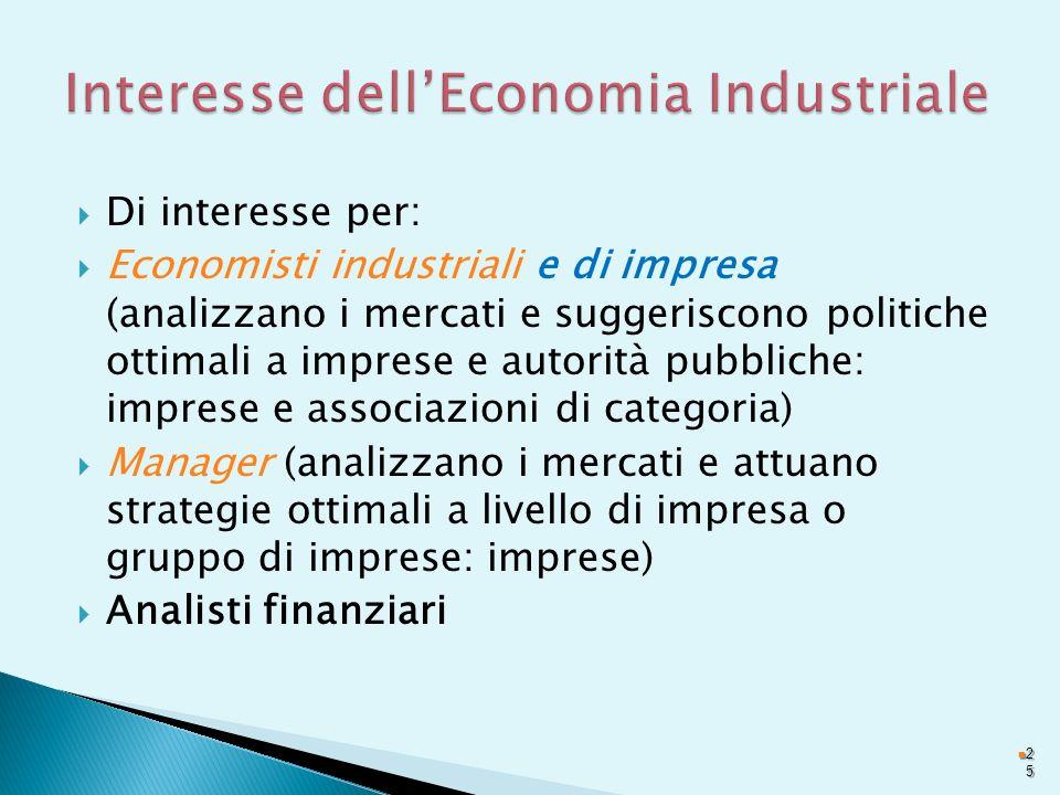 Di interesse per: Economisti industriali e di impresa (analizzano i mercati e suggeriscono politiche ottimali a imprese e autorità pubbliche: imprese