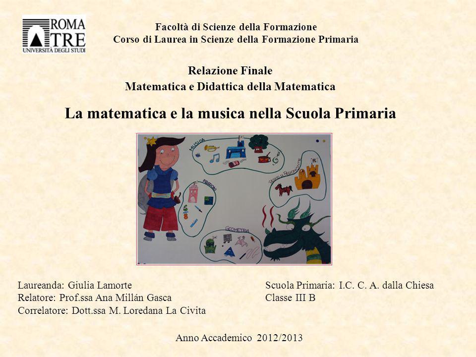 Facoltà di Scienze della Formazione Corso di Laurea in Scienze della Formazione Primaria Relazione Finale Matematica e Didattica della Matematica La m