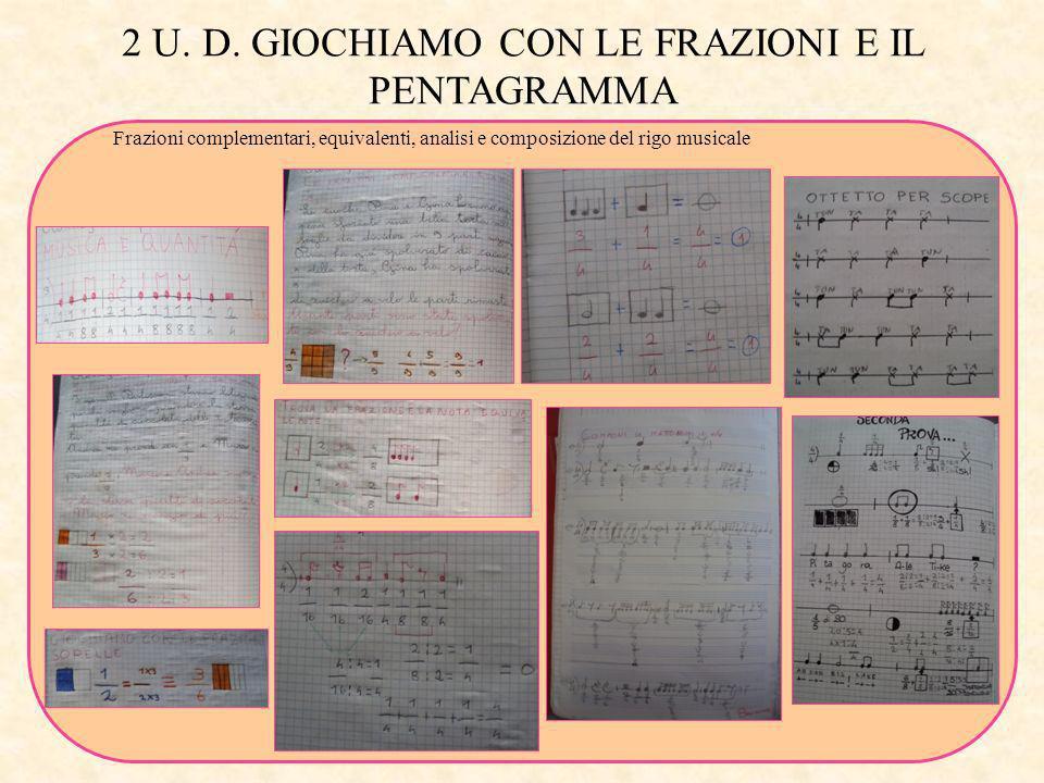 2 U. D. GIOCHIAMO CON LE FRAZIONI E IL PENTAGRAMMA Frazioni complementari, equivalenti, analisi e composizione del rigo musicale