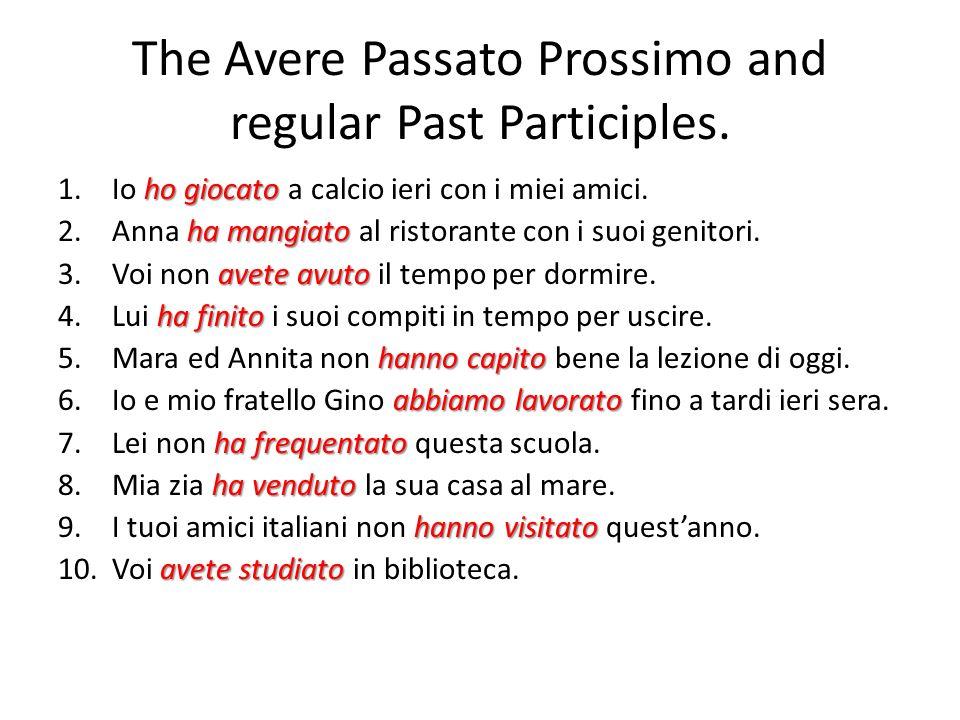 The Avere Passato Prossimo and regular Past Participles. ho giocato 1.Io ho giocato a calcio ieri con i miei amici. ha mangiato 2.Anna ha mangiato al