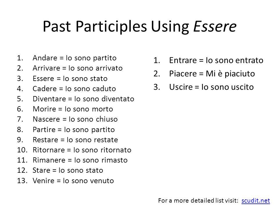 Past Participles Using Essere 1.Andare = Io sono partito 2.Arrivare = Io sono arrivato 3.Essere = Io sono stato 4.Cadere = Io sono caduto 5.Diventare