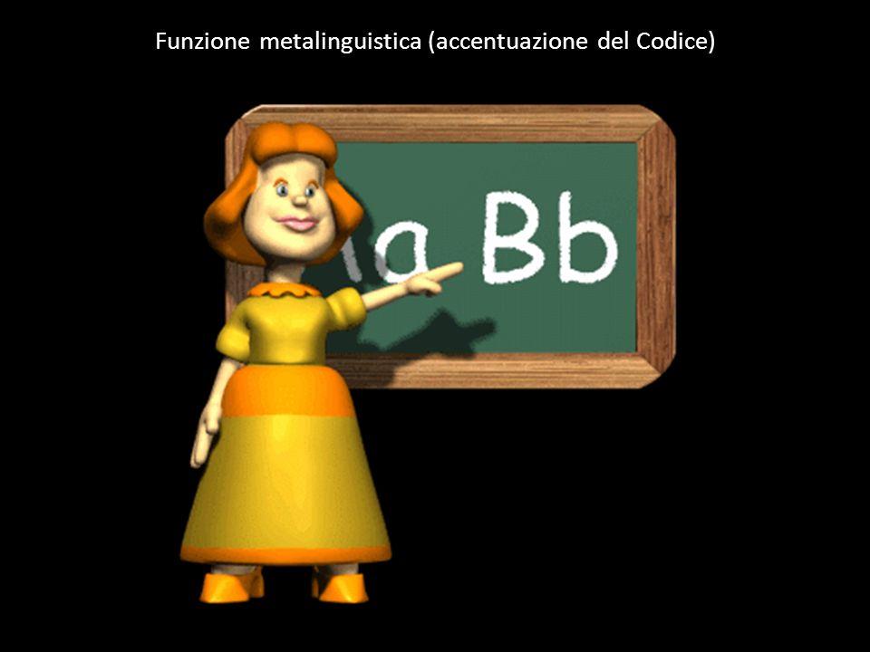 Funzione metalinguistica (accentuazione del Codice)