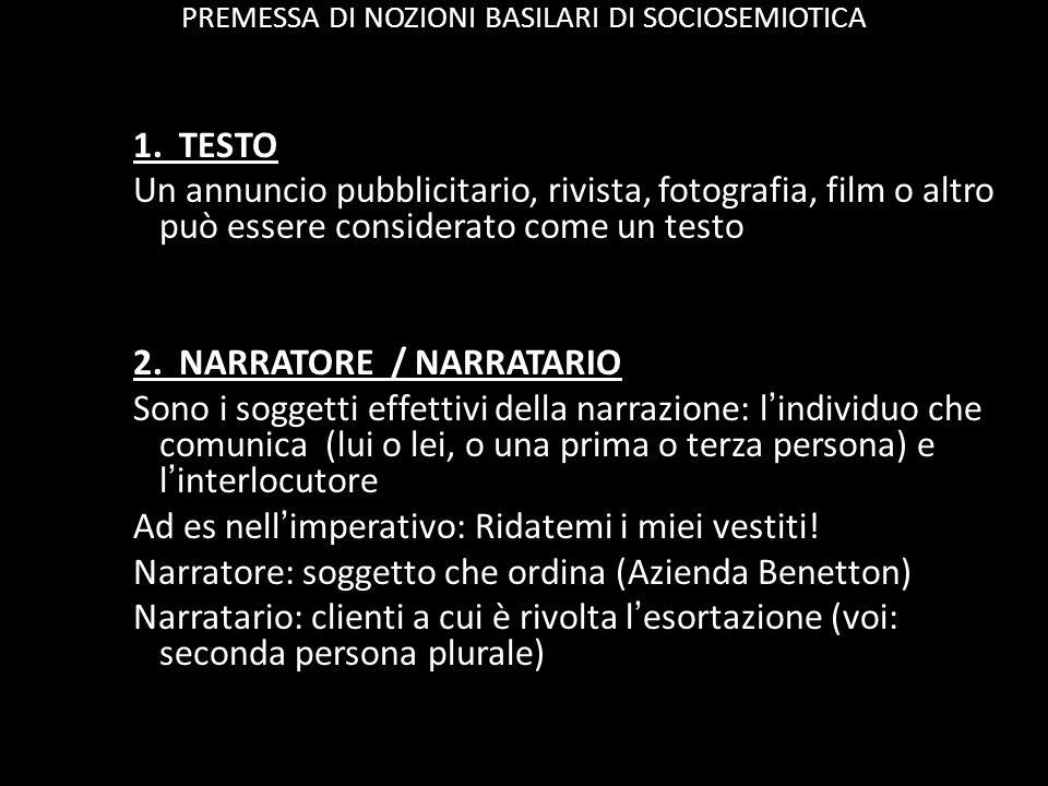 PREMESSA DI NOZIONI BASILARI DI SOCIOSEMIOTICA 1.