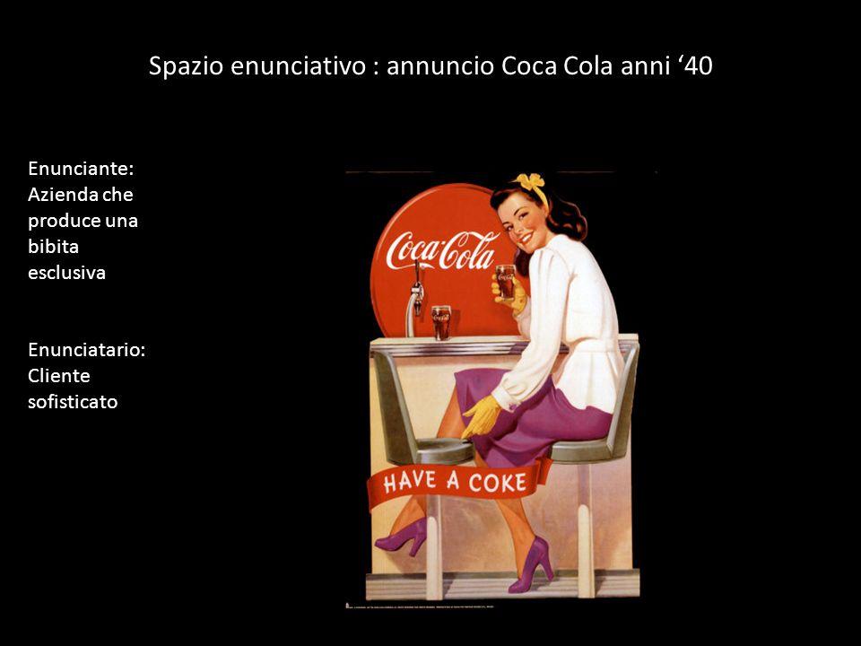 Spazio enunciativo : annuncio Coca Cola anni 40 Enunciante: Azienda che produce una bibita esclusiva Enunciatario: Cliente sofisticato