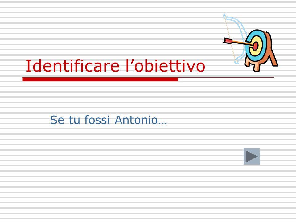 Identificare lobiettivo Se tu fossi Antonio…