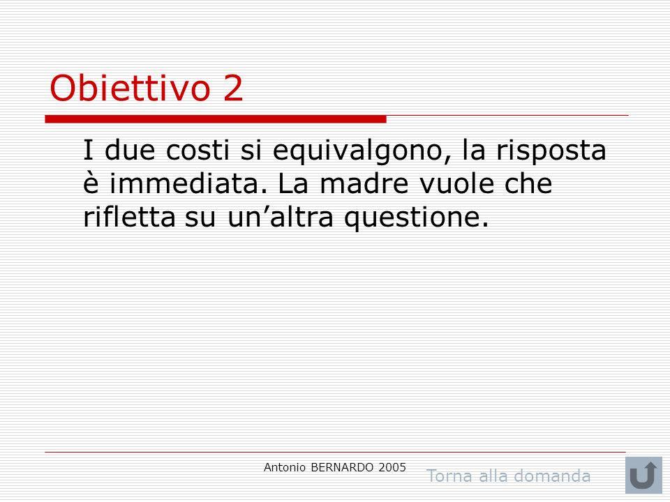 Antonio BERNARDO 2005 Obiettivo 2 I due costi si equivalgono, la risposta è immediata. La madre vuole che rifletta su unaltra questione. Torna alla do