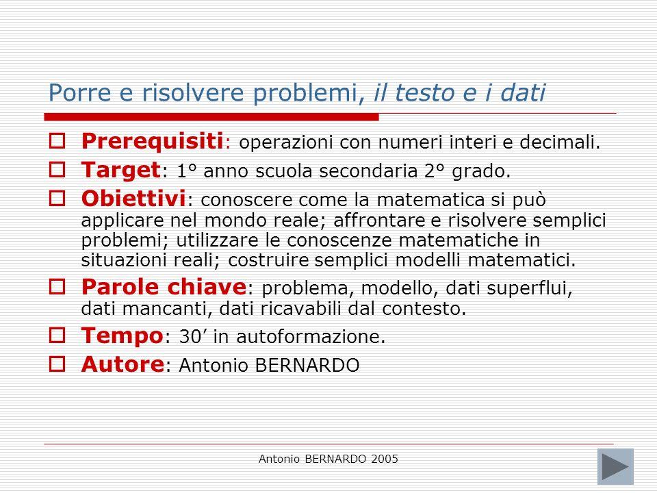 Antonio BERNARDO 2005 Porre e risolvere problemi, il testo e i dati Prerequisiti : operazioni con numeri interi e decimali. Target : 1° anno scuola se