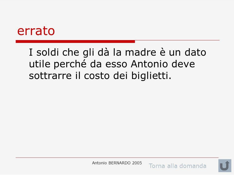 Antonio BERNARDO 2005 errato I soldi che gli dà la madre è un dato utile perché da esso Antonio deve sottrarre il costo dei biglietti. Torna alla doma