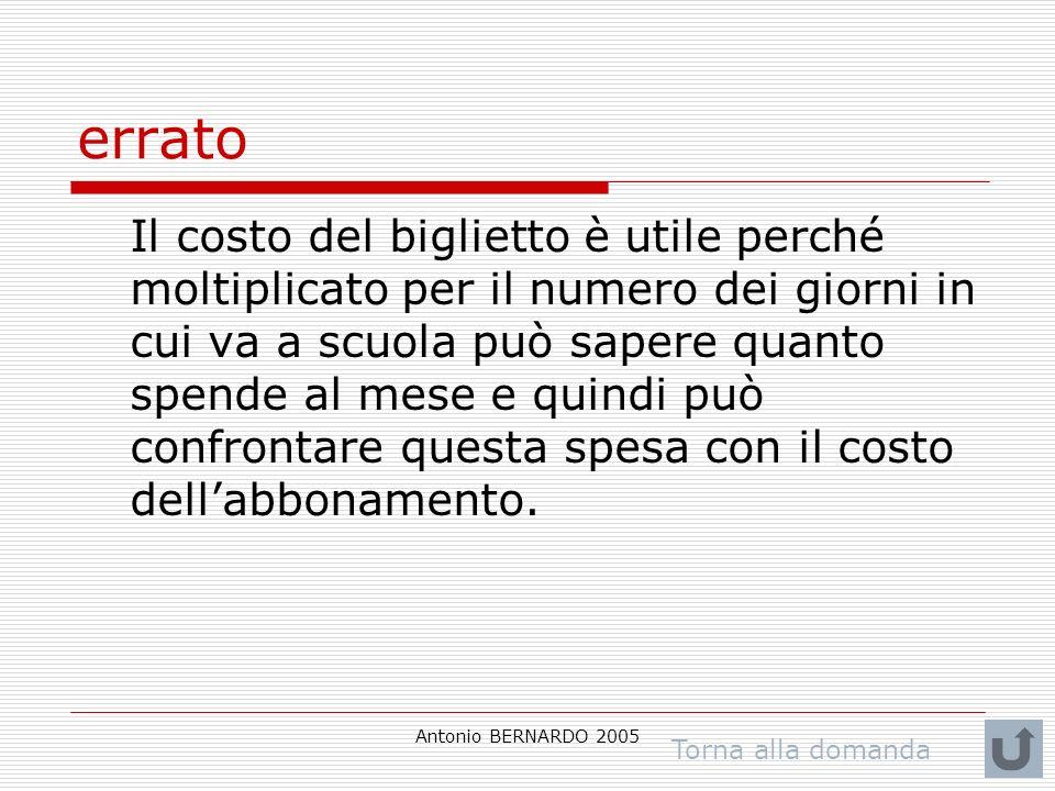 Antonio BERNARDO 2005 errato Il costo del biglietto è utile perché moltiplicato per il numero dei giorni in cui va a scuola può sapere quanto spende al mese e quindi può confrontare questa spesa con il costo dellabbonamento.